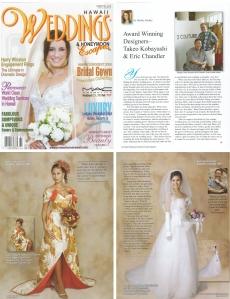 <h5>Hawaii Weddings Magazine: Award Winning Designers</h5><p>Takeo Kobayashi &amp; Eric Chandler</p>