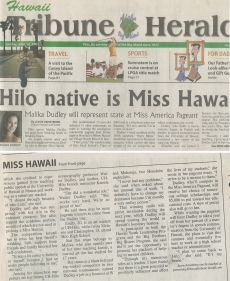 <h5>Hawaii Tribune Herald</h5><p>&quot;Hilo Native is Miss Hawaii&quot;</p>