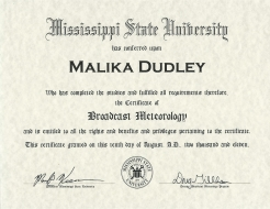 <h5>Mississippi State University</h5><p>Broadcast Meteorology</p>