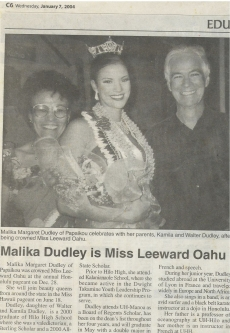 <h5>Tribune Herald</h5><p>Malika Dudley is Miss Leeward</p>