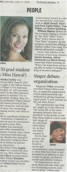 <h5>Honolulu Advertiser</h5><p>UH Grad Student is Miss Hawaii</p>