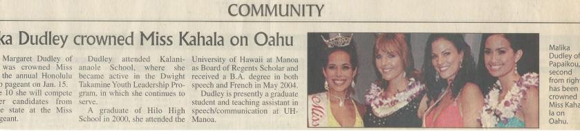 <h5>Tribune Herald</h5><p>Malika Dudley Crowned Miss Kahala</p>