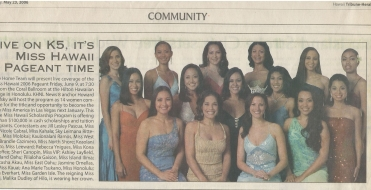 <h5>Tribune Herald</h5><p>Live on K5, It&#039;s Miss Hawaii Pageant Time</p>