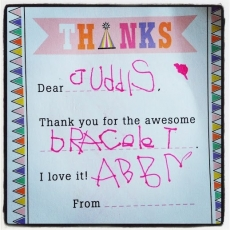 <h5>Abby</h5><p>Abby loves her Surfer Girl Jewelry beaded bracelet.</p>