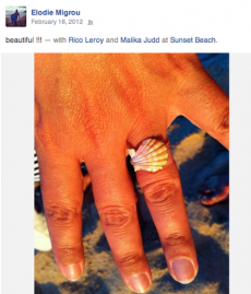 <h5>Elodie</h5><p>Elodie wears Surfer Girl Jewelry hand wire-wrapped sunrise shell ring.</p>