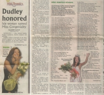 <h5>Hilo Tribune Herald</h5><p>&quot;Dudley Honored: Isle woman named Miss Congeniality&quot;</p>