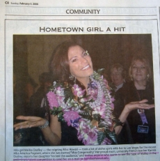 <h5>Hawaii Tribune Herald</h5><p>&quot;Hometown Girl A Hit&quot;</p>