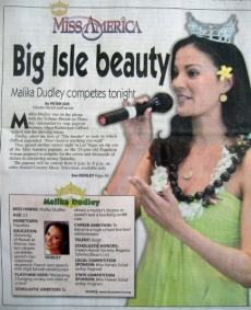 <h5>Hilo Tribune Herald</h5><p>&quot;Big Isle Beauty: Malika Dudley competes tonight&quot;</p>