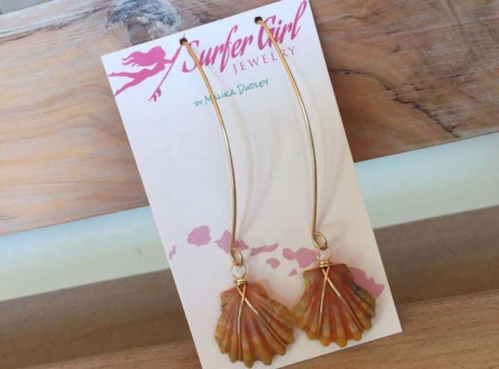 Hand wire-wrapped 14t Goldfill Sunrise Shell Earrings