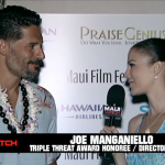 joe-manganiello-mauiwatch-malika-dudley-interview-kiss-friend