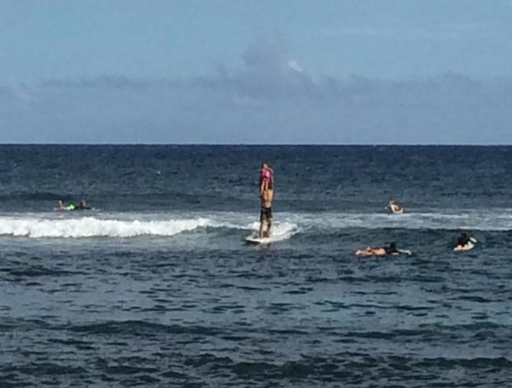 """Photo: Carey Hi'ilei Judson """"Life's Swell when your 3 yr old wants to catch swells."""""""