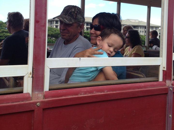 Tutu & Grandpa with sleeping Jackson