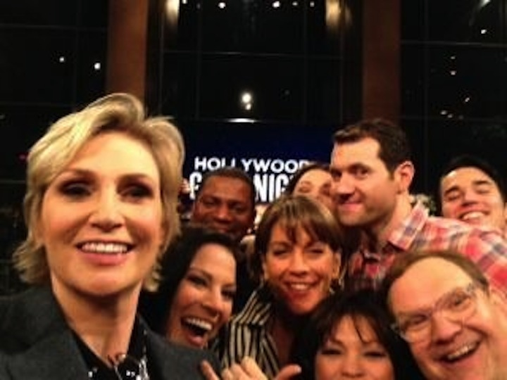 Jane Lynch takes a selfie of our group!