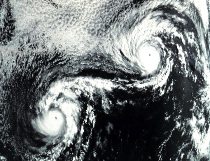 PC: NOAA PHOTO LIBRARY - Fujiwhara effect on Ione and Kirsten in 1974 caused very erratic tracks.