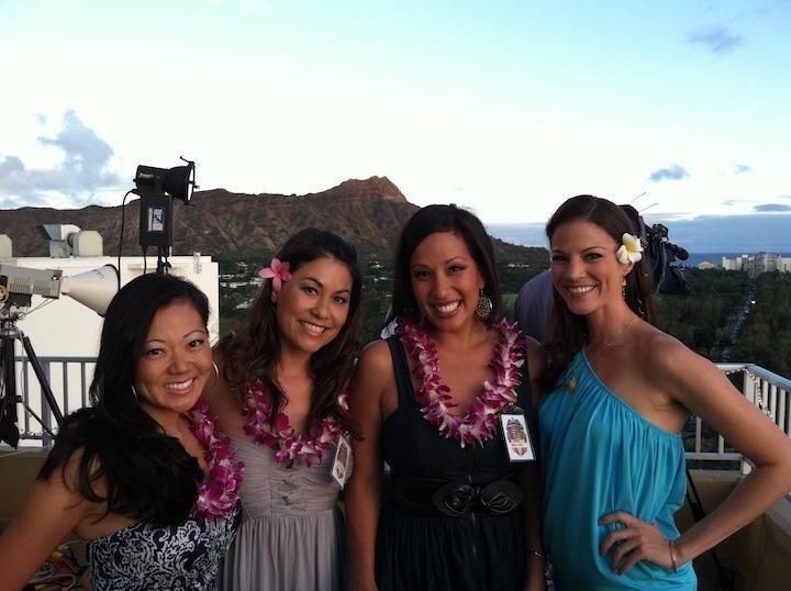 Kimi Evans, Olena Heu and I enjoying the Aston Waikiki Hawaii Five-0 party