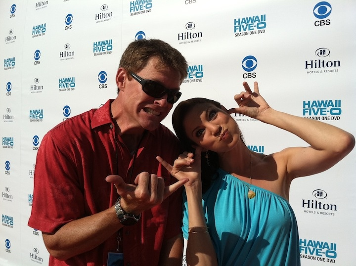 Keahi Tucker and I acting silly on the red carpet wall at Hawaii Five-0 premiere