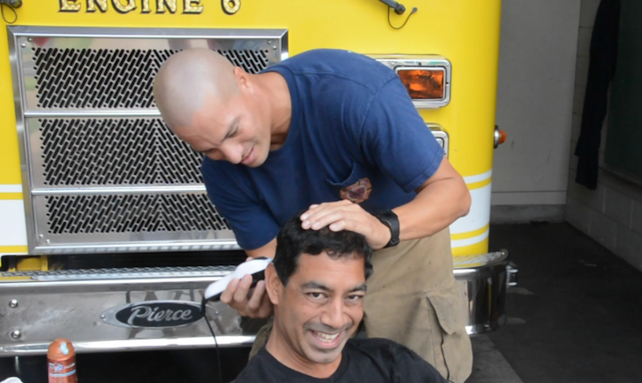 Firefighter Kapena Segundo was our barber today.